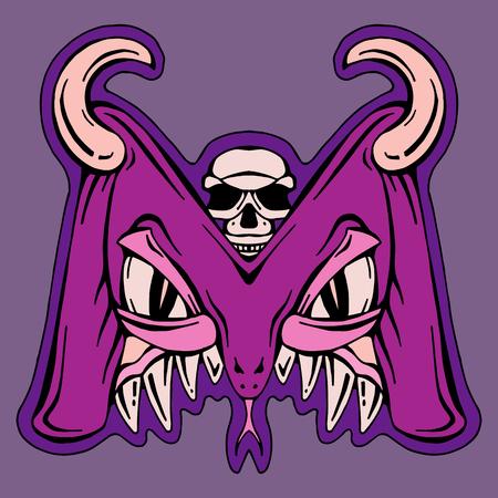 mutant: stylized letter M isolated monster mutant illustration