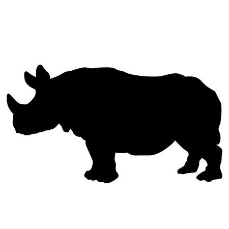 검은 코뿔소 실루엣 그림 격리를