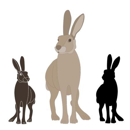 gray rabbit realistic set of black silhouette