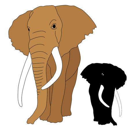 elephant adult realistic silhouette