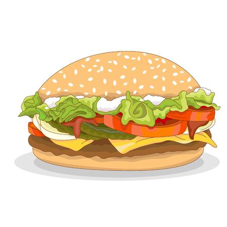 sesame seed: hamburger isolated realistic Illustration