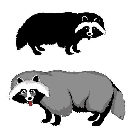 black: raccoon dog black silhouette