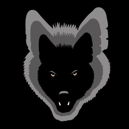 늑대 얼굴 검은 실루엣 그림자 회색 일러스트