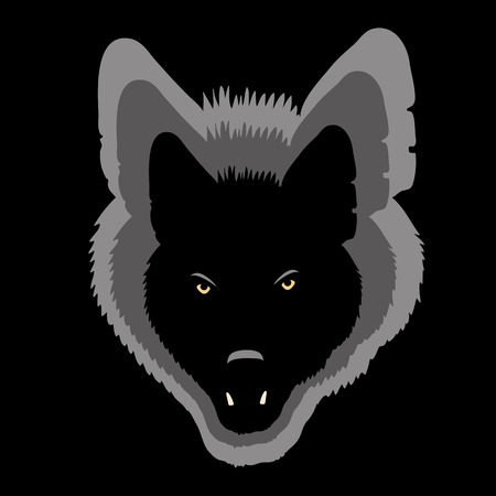 wolf face black silhouette shadow gray