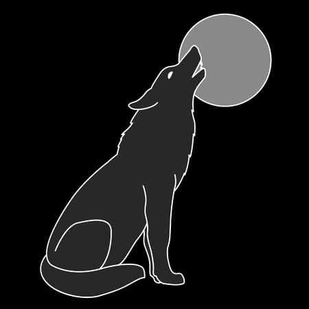 gray wolf: gray wolf silhouette howling full moon