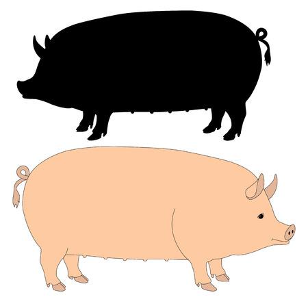 돼지 핑크 실루엣 블랙을 뿌리다