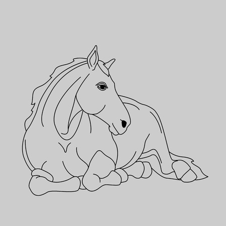 Horse lying black gray silhouette realistic illustration isolated 向量圖像