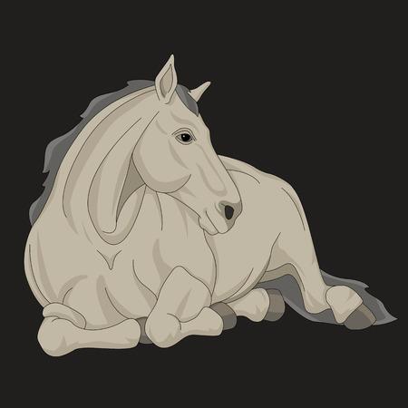 sorrel: Horse lying black gray silhouette realistic illustration isolated Illustration