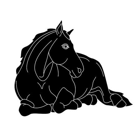 말 회색 회색 실루엣 현실적인 그림 거짓말 거짓말 일러스트