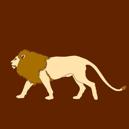 male lion go yellow color silhouette illustration 向量圖像