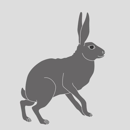 회색 토끼 삽화가 앉아있다. 일러스트