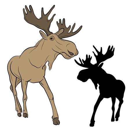 scandinavia: adult moose go black silhouette set realistic