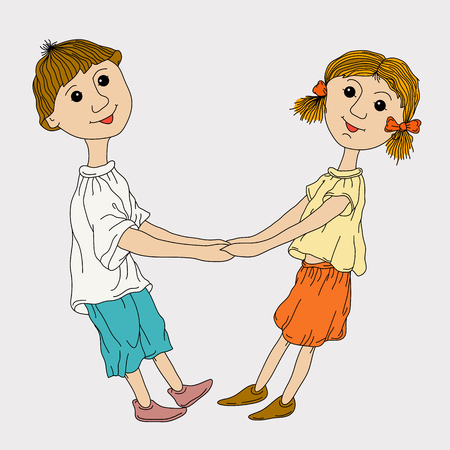 funny boy and girl holding hands