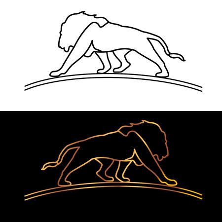 Gold   lion vector illustration black set