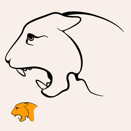 표범 머리 얼굴 문신 로고 아이콘