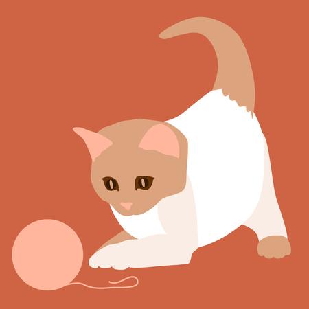 공을 흰 고양이 일러스트