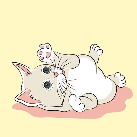 roze wit katje realistisch Vector Illustratie
