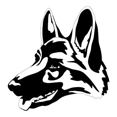 독일 셰퍼드 강아지 머리 얼굴 검은 실루엣