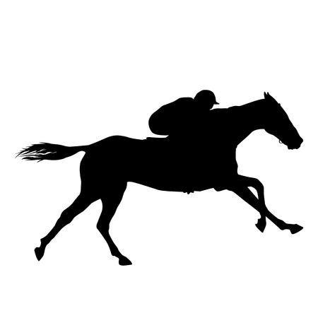 Horse rider black silhouette