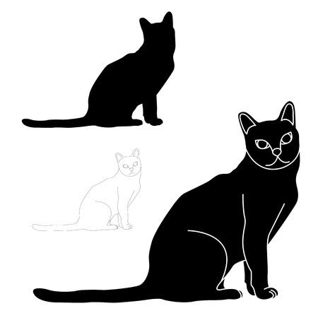 Cat sitting black silhouette set 向量圖像