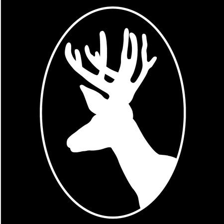 사슴 머리 프로필 실루엣 블랙 일러스트