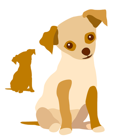 강아지 빨간색 흰색 일러스트
