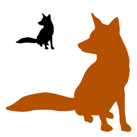 red fox sits a black silhouette Illustration