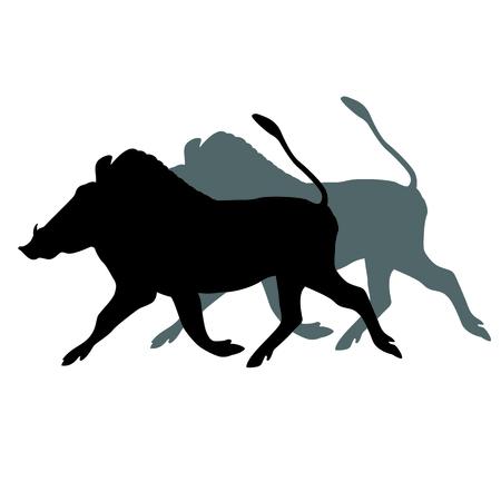 아프리카 흑 멧돼지 검은 실루엣 일러스트