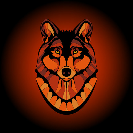 adult wolf head face color vector illustration