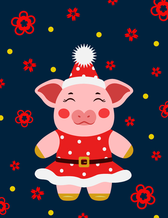 Happy new year cute pig girl postcard chinese. Symbol of the year 2019  illustration Illustration