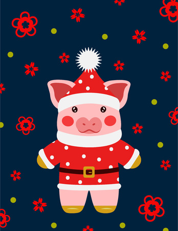 Happy new year cute pig santa claus postcard chinese. Symbol of the year 2019  illustration  イラスト・ベクター素材