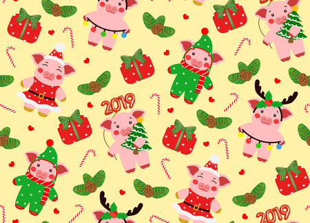 Seamless pattern little piggy characters illustration. Happy new year