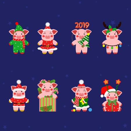 Set little pig, piggy characters illustration. Happy new year Stock Illustratie