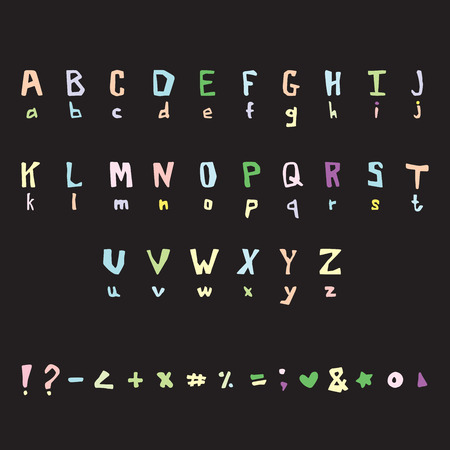 Cute letters illustration. Handwritten font. Illustration