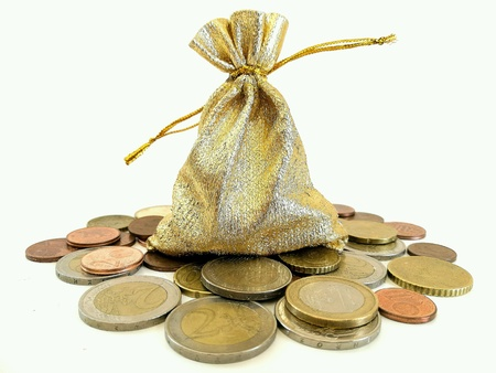 silver: Euro coins and gift bag on white background
