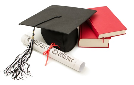 alumna: Stack of books with cap and diploma on white background