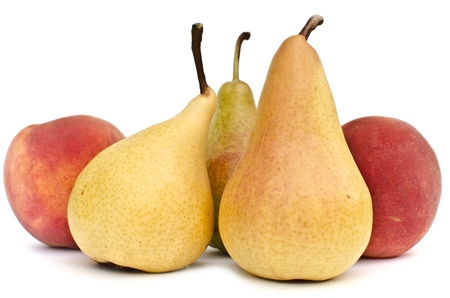 Fresh homegrown pears and peaches on white background Stock Photo - 16871531