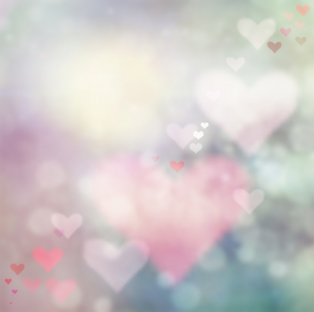 love symbol: Valentines day abstract nature background with bokeh lights and hearts