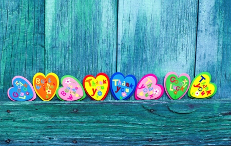 valentin: Decorative hearts on wooden background Stock Photo