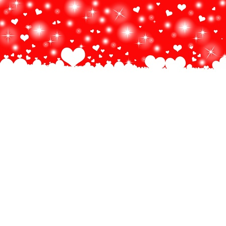 White hearts on red background with space for text photo