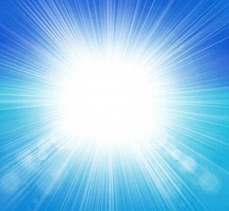 glaring: Sun on blue sky with lenses flare