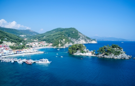 View from the top of the fortress at Panagia island in Parga Greece and city harbor, and beautiful Ionian sea
