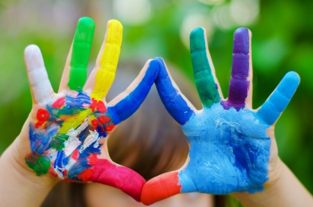 painted colorful hands Stok Fotoğraf