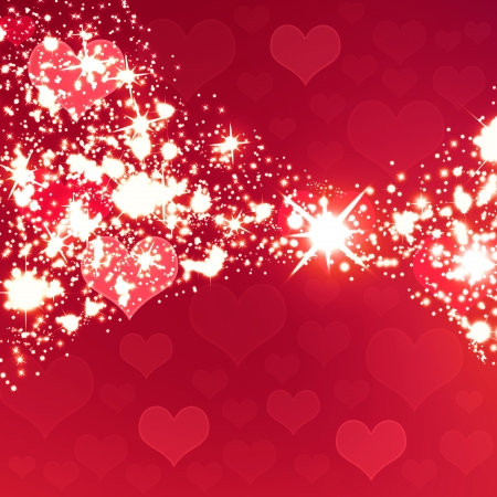 Shiny sparkling background, transparent falling hearts Stock Photo - 24723914