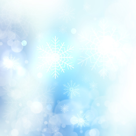 Abstract Christmas card with snowflakes and bokeh lights