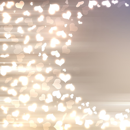 silver background: Abstract heart bokeh bright background