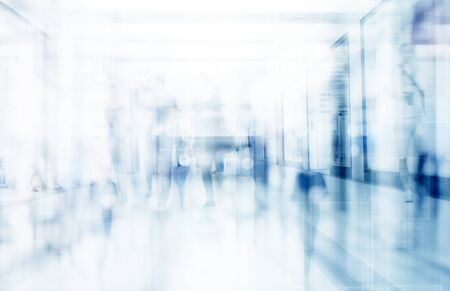 abstract defocused blurred technology space background, empty business corridor or shopping mall. Medical and hospital corridor defocused background with modern laboratory (clinic) Stok Fotoğraf