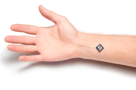 A chip with personal data or medical data or with a payment system implanted in the hand.