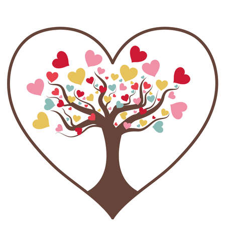 heart tree isolated on white background. Valentine Tree with Love Heart, Valentine 'Day concept. Love tree. Heart tree with coloful heart leaf isolated on white background. Valentine's day background.