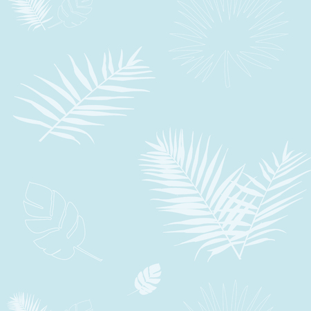 Vector illustration of a silhouette of a blue palm leaf Illustration